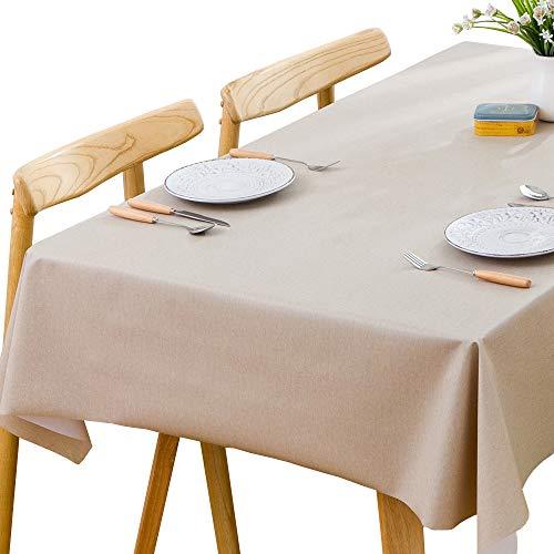 Plenmor PVC Tischdecke Rechteckig für Küche Esstisch Kunststoff Wischtuchreinigung Tischdecke für Indoor Outdoor (137 x 200 cm, Beige)