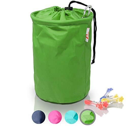 Amazy XXL Wäscheklammerbeutel – Extra-robuster Klammerbeutel mit Karabinerhaken zur Aufbewahrung von bis zu 200 Wäscheklammern für drinnen und draußen (Grün | 30 x 20 cm)