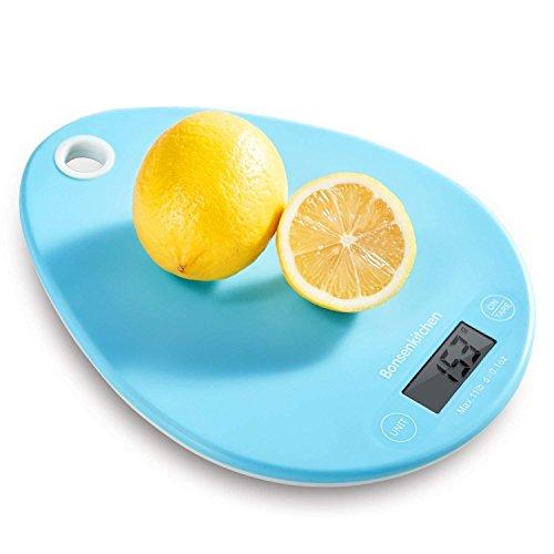 Bonsenkitchen Digitale Waage Küchenwaage Klein Elektronische Digitalwaage, Haushaltswaage, Feinwaage für Küche Kochen und Backen mit Berührungssteuerung und Hochpräzises Sensor, Blau(KS8801)
