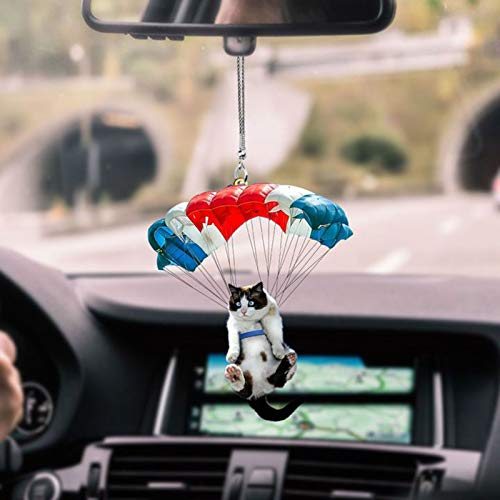 Flying Cat Pendant Car Backpack Ornaments ,Cute Cat Hanging Suncatcher Ornament, Cat Car Hanging Ornament with Colorful Balloon Car Hanging Ornament Car Interior Dec (B-1pcs)
