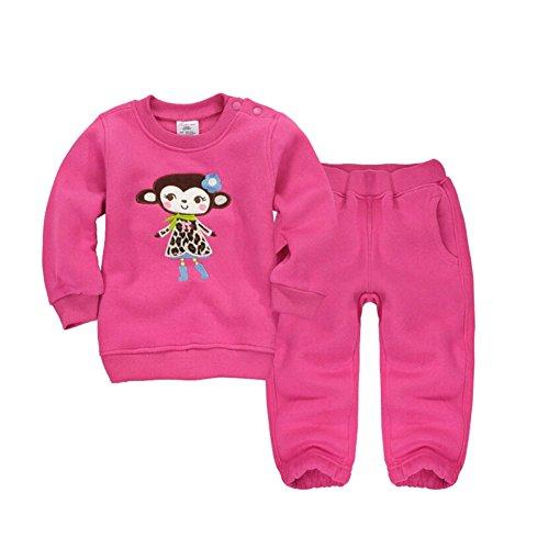 CuteOn Tout-Petit Enfants bébé Garçons Filles Hiver Survêtement Pullover Sweat-Shirt Décontractée Top + Pantalons Tenues Ensemble Rose 12 Mois
