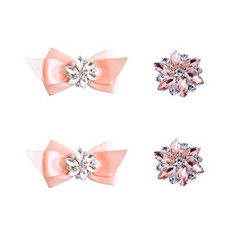 Elegantpark CQ Schleife Strass Geschenk Flasche Pumps Hochzeit Brautschuhe Abendschuhe Dekoration Accessories Schuhclips 2 Paare Pink