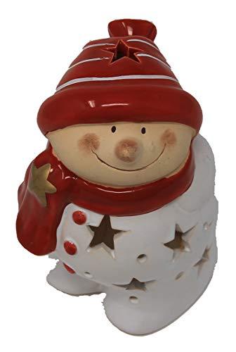 Windlicht Schneemann mit roter Mütze und rotem Schal aus Keramik