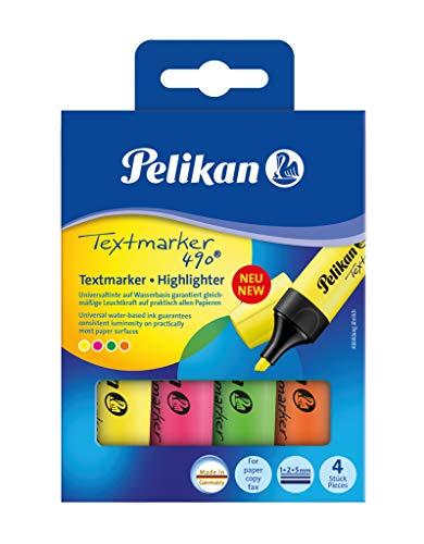 Pelikan 814058 Textmarker 490, farbig sortiert, 4 Stück im Etui