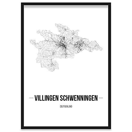 JUNIWORDS Stadtposter, Villingen-Schwenningen, Wähle eine Größe, 40 x 60 cm, Poster mit Rahmen, Schrift B, Weiß