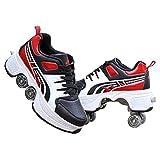 Patines De Ruedas, Zapatillas De Deporte, Zapatos Multiusos 2 En 1 Con Zapatos De Deformación Con Ruedas, Patines En Línea Para Niños Y Estudiantes,zapatos De Skate,Red-40EU