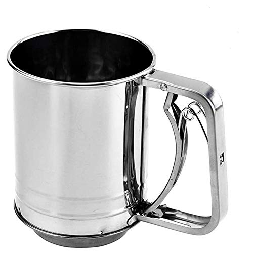 Flour Sifter, Flour Sifter for Baking 8 Cup Double Layers Sieve, Flour Sifter with 16 Fine Mesh Screen Hand Press Design, for Bake & Decorate Cakes, Pies, Pastries, Cupcakes