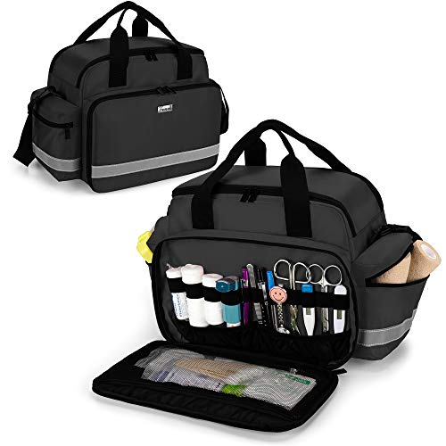 Trunab 救急バッグ メディカルバッグ 訪問バッグ 医療バッグ 家庭用 旅行 アウトドア 登山 学校 応急処置バッグ ブラック