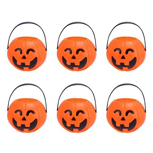 Amosfun 6pcs Halloween-Kürbis Eimer Mini Glas Süßigkeiten Eimer Kürbislaterne trickfestlichkeit Süßigkeiten Tasche für Halloween Partydekoration