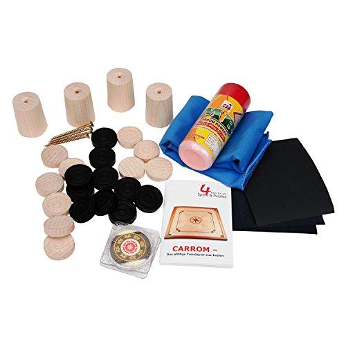 GICO Carrom Zubehör Set für alle handelsüblichen Boards: Carrom Steine, Gleitpulver, Pflegeset, Füsschen - 2116
