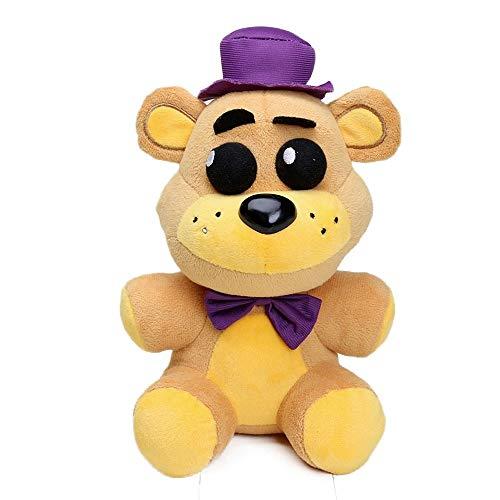 DEERO 25cm FNAF Freddy Fazbear Juguetes de Felpa Cinco Noches en Freddy'S Golden Bear Nightmare Cupcake Foxy Globo niño Payaso muñecas de Peluche (Purple Hat Bear)