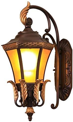 hwljxn Continental Impermeable Pared Exterior lámpara de Pared al Aire Libre Estilo Americano Villa Patio Puerta jardín balcón lámpara de Pared Poste Luces de Poste 23 * 30 * 51cm Decoración Delicada