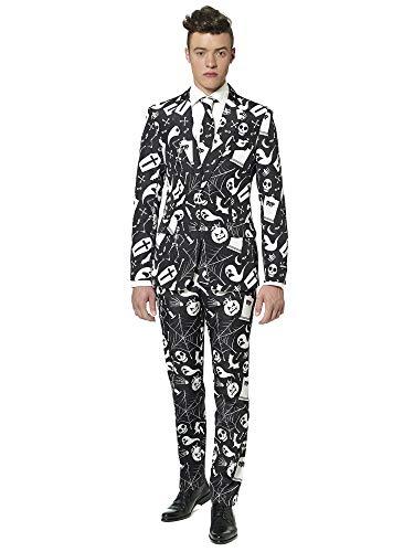 Suitmeister Herren Men Suit Business-Anzug Hosen-Set,Schwarz Icons,L