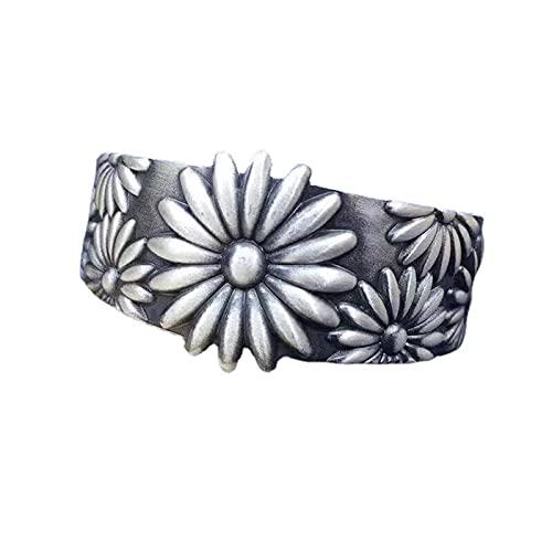 ZiFei Brazaletes de Plata de Ley 999 Pura para Mujer, Brazalete de Apertura en Relieve de Crisantemo Grande Joyería Fina