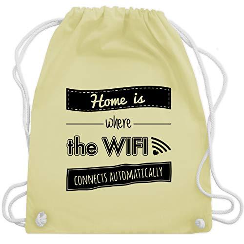 Shirtracer Statement - Home is where the wifi connects automatically - Unisize - Pastell Gelb - WM110_Stoffbeutel - WM110 - Turnbeutel und Stoffbeutel aus Baumwolle