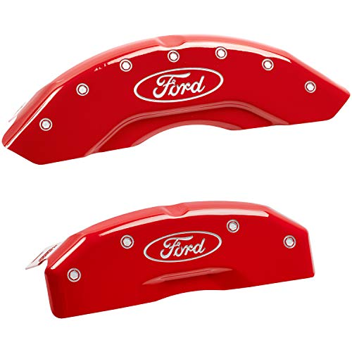 MGP Caliper Covers 10219SFRDRD Ford Oval Logo Type Caliper Cover with Red Powder Coat Finish and Silver Characters, (Set of 4)