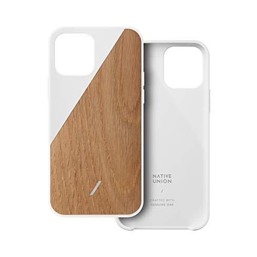 Native Union Clic Wooden Schale –Gefertigt aus amerikanischem Eichen-Echtholz – Schlanke & leichte Hülle – Einzigartige natürliche Holzfasern – Passend für das iPhone 12 Mini(Eiche/Weiß)