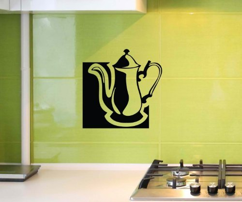 Wandtattoo Teekanne Tee Kanne Tattoo Küche Spruch Wandbild Aufkleber 5Q006, Farbe:Dunkelgrün Matt;Hohe:55cm