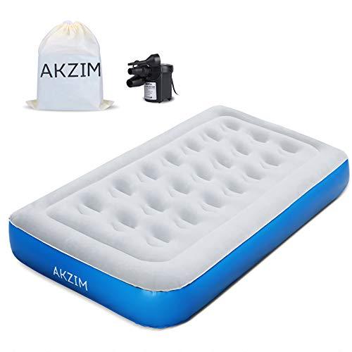 AKZIM Premium-Luftmatratze Einzel Luftbett, Gästebett Inflatable Air Mattress mit Luftpumpe-Aufbewahrungstasche und Reparaturflicken -203 x 99 x 22cm