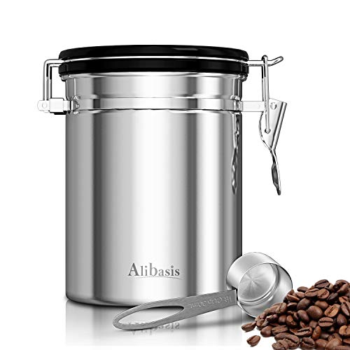 Alibasis Coffee Canister, 21OZ Kitchen Food Storage Container with Airtight Lids and Stainless Steel Scoop For Coffee Bean, Nuts, Sugar