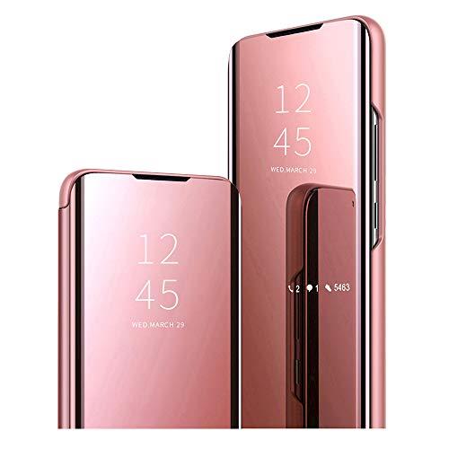 Clear View Standing Cover für das Samsung Galaxy A50, kompatibel mit Galaxy A50, Spiegel Flip Cover Schutz Tasche mit Standfunktion 360 Grad hülle für Galaxy A50-17