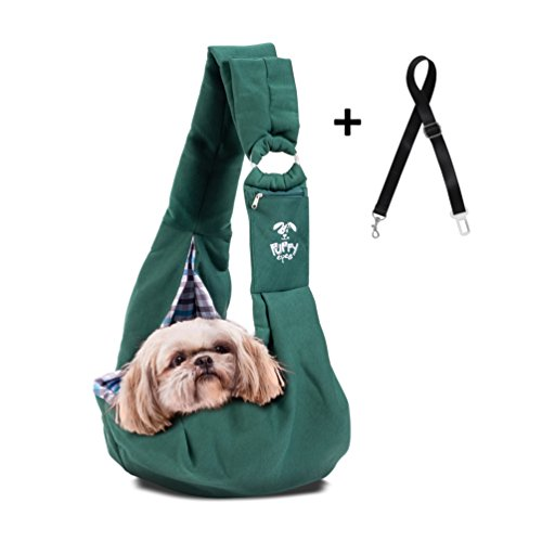 Puppy Eyes Pet Carrier Sling Ideal for Small & Medium Dogs, Cats or Rabbits up to 15 lb. Comfortable & Easy-Care   Free Seat Belt & Ebook   Adjustable & Reversible Design with Zippered Pocket