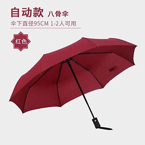 hdggzkm Automatische Paraplu Vouwen Grote Dubbele 30% Winddichte Mannen En Vrouwen Versterkte Zwarte Kunststof Regen Dual-Use Studenten Oversized Wijn Rood