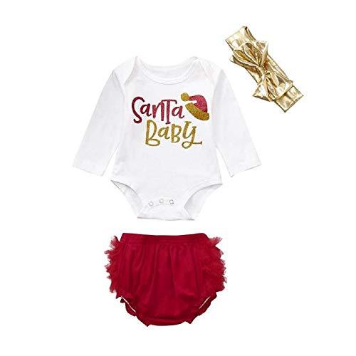 Baby Mädchen Bekleidungssets Kinder Kleinkind Säugling Weihnachten Outfits Set Brief Drucken Langarm Strampler + Schnüren Shorts + Schleife Stirnband (Weiß, 70)