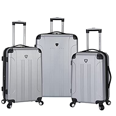 Travelers Club 3 Piece Original Chicago Collection  Hardside +25% Expandable Luggage Set Includes 28  Upright, 24  Suitcase, and 20  Carry-On Luggage, Silver Color Option