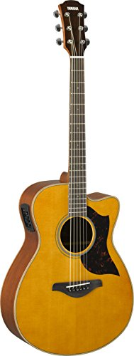 Yamaha 6 String Series AC1M Small Body Cutaway Acoustic-Electric Guitar-Mahogany, Vintage Natural, Concert VN