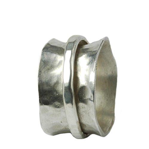 Breiter gewölbter Ring 925er Silber mit beweglicher Ringschiene Größen 63 (20.1)