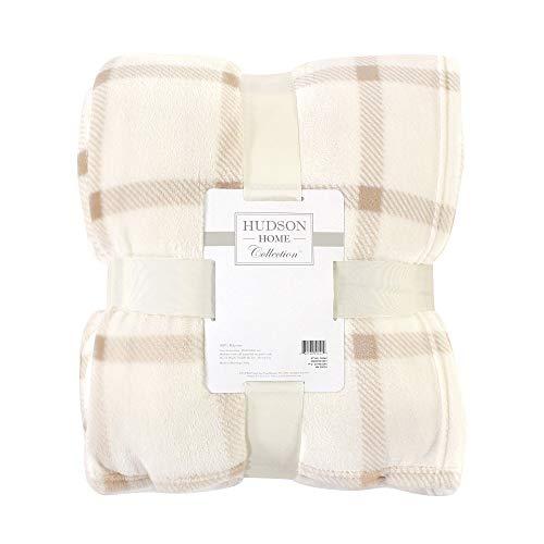 Hudson Baby Home Silky Plush Blanket, Tan Plaid Fleece, 108X90 in. (King) (59243)