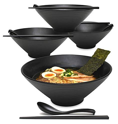 4 Sets (12 Stück) 1700 ml große japanische Nudelsuppenschüssel Ramenschüssel aus Melamin Hartplastik Schüssel-Set für Udon Soba Pho Asiatische Nudeln