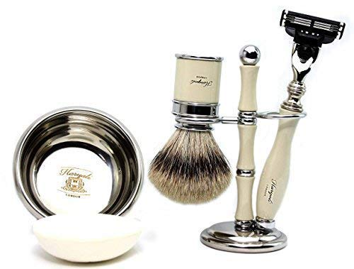 NIEUW ontworpen. Ivoor Kleur scheerkwast Met Zilveren Tip Badger Haar, Mach 3 Razor, Ivoor Kleur 3 Ring Borstel & Razor Houder, RVS Scheerschaal met een Gratis Zeep. Perfect cadeau voor hem.