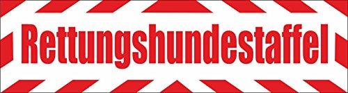 INDIGOS UG - Magnetschild Rettungshundestaffel mit Rahmen 45 x 12 cm reflektierend - Magnetfolie für Auto/LKW/Truck/Baustelle/Firma