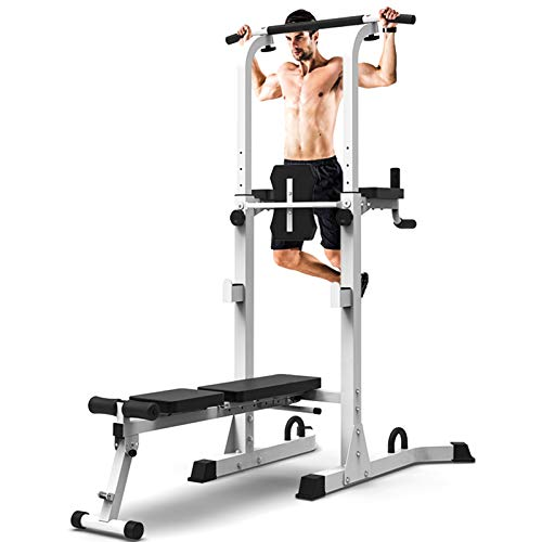 NENGGE Power Tower with Bench Adjustable Dip Station for Squat Rack Multi-function Pull Up Bar for Home Gym Strength Training Workout Equipment, Max 300kg