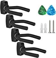 Haneye Guitar Hangers, Acoustic and Electric Guitar Wall Mount Hangers, Set of 4 Pack Guitar Hook Holder Stand for All Size Musical Instruments Bass, Mandolin, Banjo, Violin, Ukulele Accessories