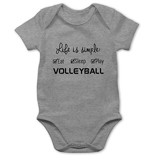 Sport Baby - Life is Simple Volleyball - 1/3 Monate - Grau meliert - Volleyball Baby Body - BZ10 - Baby Body Kurzarm für Jungen und Mädchen
