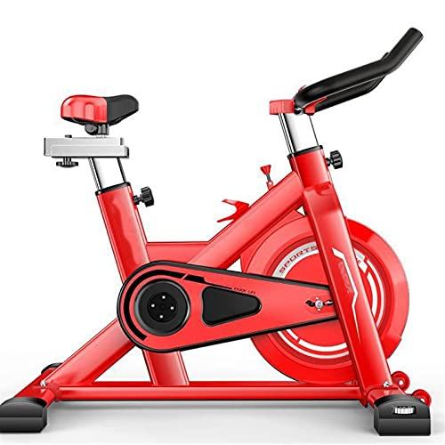 DJDLLZY Bicicleta de Spinning, Bicicletas estáticas, Ciclismo Indoor Bicicleta estática, la Correa de accionamiento Directo 12Kg Volante, Resistencia magnética, con un cómodo cojín de Asiento (Rojo)