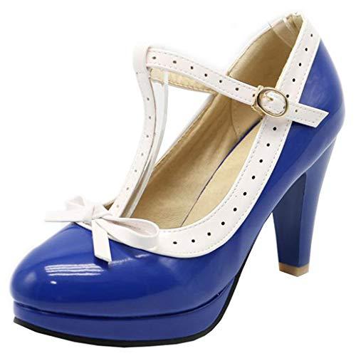 LUXMAX Damen Lolita Rockabilly Lack Schuhe T Spangen Pumps High Heels Runde Spitze 8cm Absatz