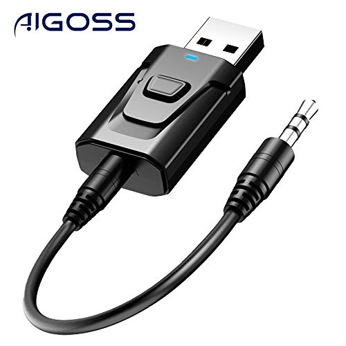 Aigoss Adaptador Bluetooth USB V5.0 Transmisor y Receptor 2-en-1 con Cable Auxiliar Digital de 3.5 mm Baja Latencia, Alta Fidelidad Estéreo, Plug and Play para TV/Altavoces/PC/Auriculares/Coche
