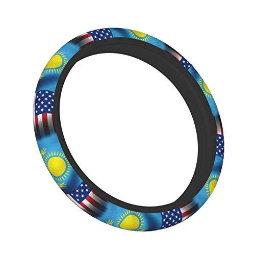 Bandera de Kazajstn (Kazajstn) - Cubierta elstica para volante de coche Waves USA, ajuste universal de 15 pulgadas, goma de neopreno Steeri