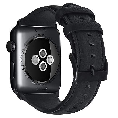 Mannen Vrouwen band Compatibel met Apple Watch Band 44mm 42mm 40mm 38mm, Echte Vintage Olie wax Lederen Band Compatibel met Apple Watch Series 4 3 2 1