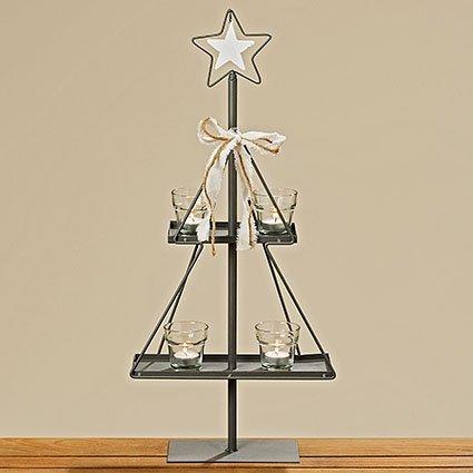 Tamia-Home 5tlg. Adventskranz Weihnachtsdeko Kerzenständer Kerzenhalter Tischaufsteller Stern Nika H68cm