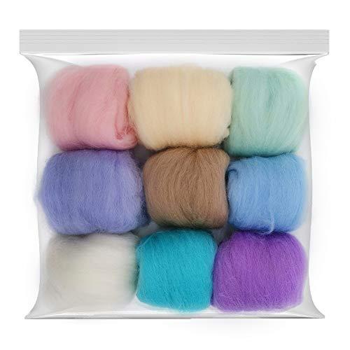 Seekee 9 Stücke Filzwolle Märchenwolle geeignet für Nassfilzen and Trockenfilzen Merino 70s Grade Superweich 9 Farbe - Jede Farbe 10g (d)