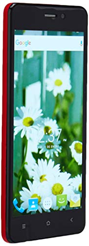 "Slide Dual Sim 5"" Unlocked Smartphone Android 6 Quad Core 1GHz Processor 13MP Camera Nationwide 4G LTE Coverage, Red"