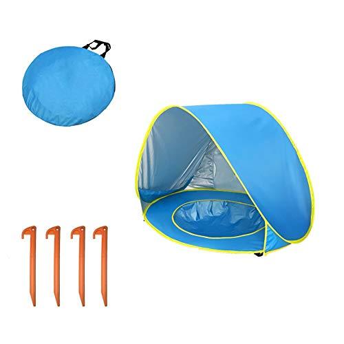 HBIAO Carpa de Playa portátil para bebé,Carpa Liviana para Juegos con Piscina 50 SPF Toldo Protector UV para bebés Mayores de 1 año,Blue
