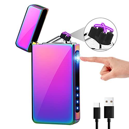 KIMILAR Mechero Eléctrico, Encendedor Eléctrico USB Recargable Doble Arco A Prueba de...