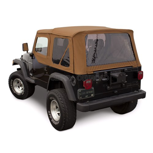 Compatible with Wrangler TJ (1997-2002) Factory Style Soft Top with Tinted Windows, with matching Upper Door Skins Spice Denim
