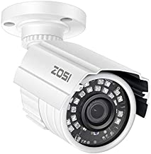 ZOSI 2MP HD 1920TVL Indoor/Outdoor Security Camera 1080p(Hybrid 4-in-1 HD-CVI/TVI/AHD/960H Analog CVBS),24PCS LEDs,65ft IR Night Vision, Weatherproof Surveillance CCTV Bullet Camera
